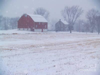 Quakertown Farm On Snowy Day Art Print by Anna Lisa Yoder