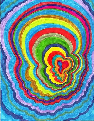 Quakey Breakie Heart Art Print by Brenda Adams