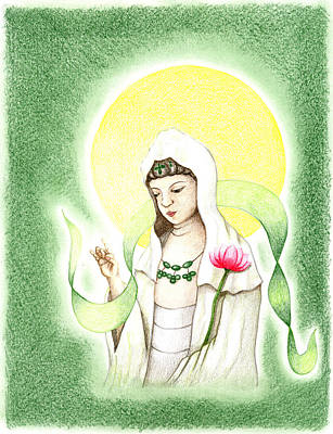 Art Print featuring the drawing Quan Yin by Keiko Katsuta