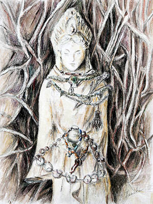 Drawing - Quan Yin The Guide Through Entangled World by Danuta Bennett