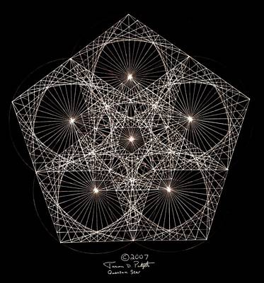 Fractal Geometry Drawing - Quantum Star II by Jason Padgett