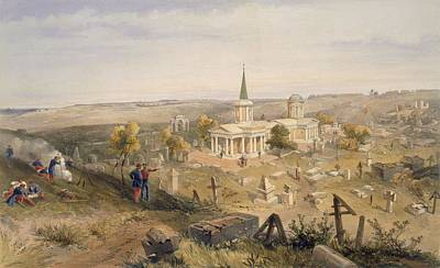 Graveyard Drawing - Quarantine Cemetery And Church, Plate by William 'Crimea' Simpson