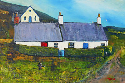 Scotland Painting - Quarriers Cottage Luing. by Peter Tarrant