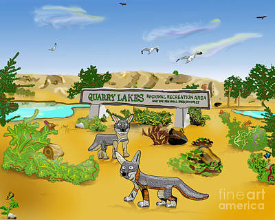 Quarry Lakes And Gray Foxes Art Print