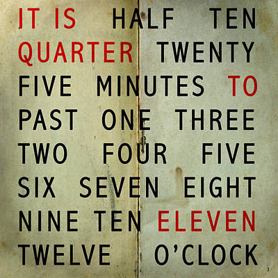Nine To Five Photograph - Quarter To by Jerry Cordeiro