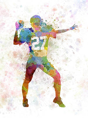 Playing Football Painting - Quarterback American Throwing Football Player Man by Pablo Romero
