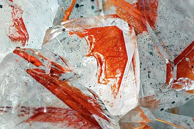 Crystalline Photograph - Quartz Crystal And Limonite Mineral by Dr Juerg Alean