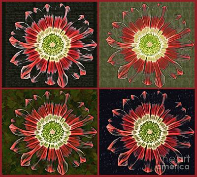 Division Digital Art - Quatro Floral - 0102cba by Variance Collections