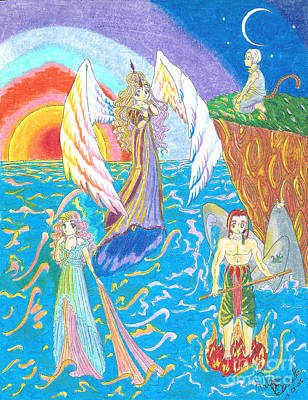 Angel Mermaids Ocean Drawing - Quatuor by Valerie Bessette