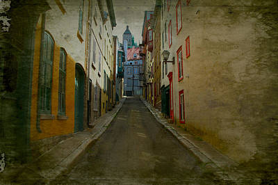 Quebec Streets Digital Art - Quebec City French Street Scene Fine Art Photograph Print by Laura Carter