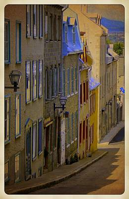 Quebec Streets Digital Art - Quebec City Scene Landscape French Streets Photograph by Laura Carter