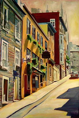 Streetscape Painting - Quebec City by Sheila Diemert