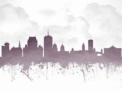 Quebec City Digital Art - Quebec City Skyline - Purple 03 by Aged Pixel