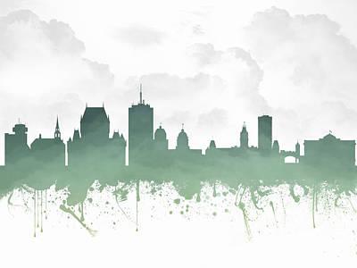 Quebec City Digital Art - Quebec City Skyline - Teal 03 by Aged Pixel