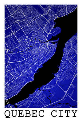 Quebec Streets Digital Art - Quebec City Street Map - Quebec City Canada Road Map Art On Colo by Jurq Studio