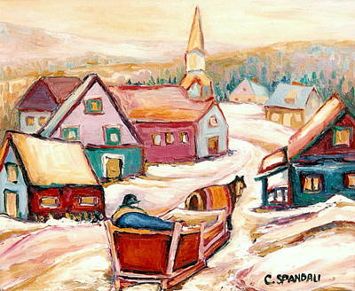Quebec City Street Scene Caleche Ride In The Village Art Print