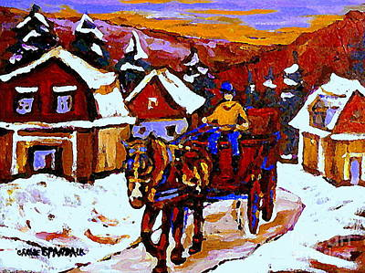 Caleche Painting - Quebec Landscape Paintings Red Sled Rider Thru Mont St Hilaire Quebec Winter Scene Painting Cspandau by Carole Spandau