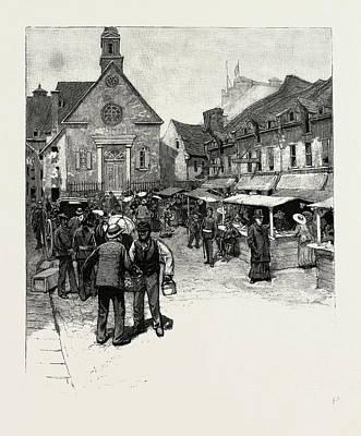 Quebec Drawing - Quebec, Notre Dame Des Victoires, Site Of Original City by Canadian School