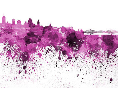 Quebec Painting - Quebec Skyline In Pink Watercolor On White Background by Pablo Romero