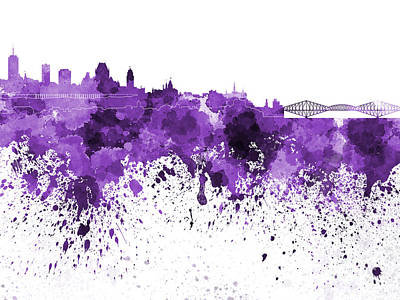 Quebec Painting - Quebec Skyline In Purple Watercolor On White Background by Pablo Romero