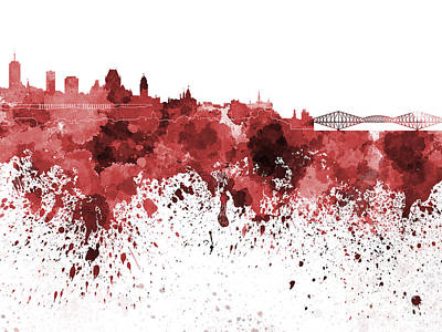 Quebec Painting - Quebec Skyline In Red Watercolor On White Background by Pablo Romero