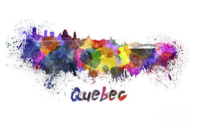 Quebec Painting - Quebec Skyline In Watercolor by Pablo Romero