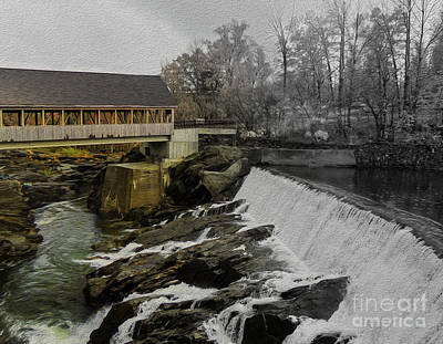 Quechee Covered Bridge Art Print by Mim White