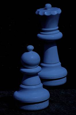 Photograph - Queen And Pawn Blue by Jeff Gater