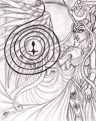 Faeries Drawing - Queen Arianrhod by Coriander  Shea