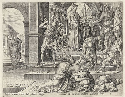 Queen Athaliah Orders The Kings Children To Be Killed Art Print by Harmen Jansz Muller And Hadrianus Junius And Gerard De Jode