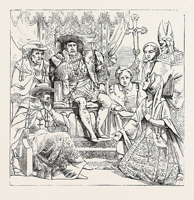 Queen Catherine Before Henry Viii Art Print by English School