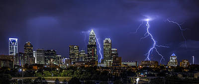 Charlotte Skyline Photograph - Queen City Strike by Chris Austin