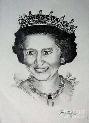 Drawing - Queen Elizabeth II by Tanmay Singh