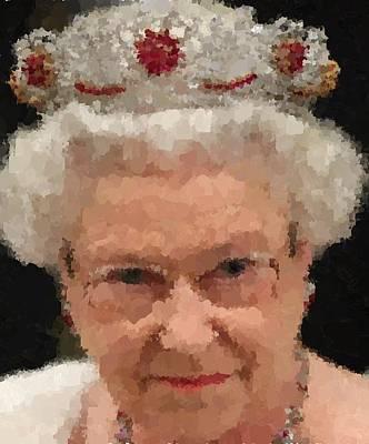 Painting - Queen Elizabeth II With Eyeglasses by Samuel Majcen