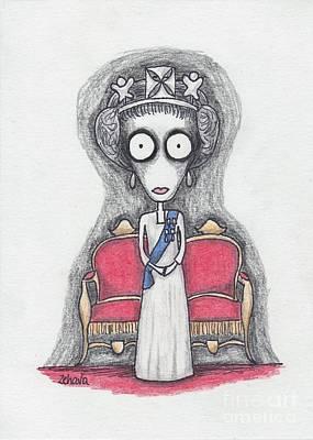 Creepy Mixed Media - queen elizabeth II by Zehava Jacobs