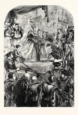 Drake Drawing - Queen Elizabeth Knighting Sir Francis Drake by Gilbert, Sir John (1817-97), English
