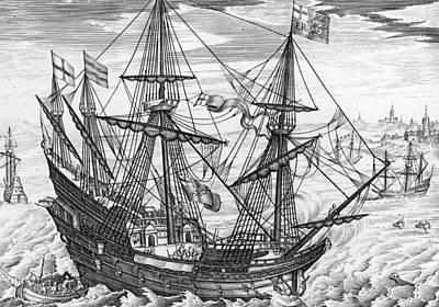 Harbor Drawing - Queen Elizabeth S Galleon by English School