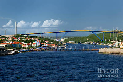 Dutch Photograph - Queen Juliana Bridge  Queen Emma Bridge Curacao by Amy Cicconi