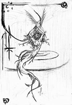 Mermaid Drawing - Queen by Kd Neeley