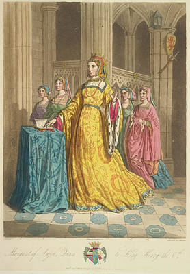 Gold Dress Photograph - Queen Margaret Of Anjou by British Library