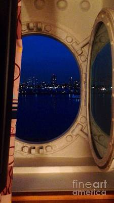 Photograph - Queen Mary Port Hole Night  by Susan Garren