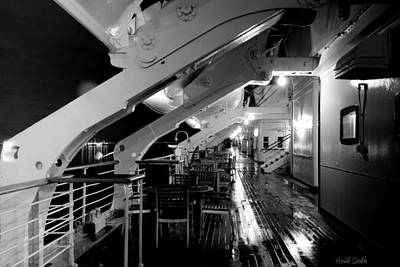 Photograph - Queen Mary Sun Deck Black And White by Heidi Smith