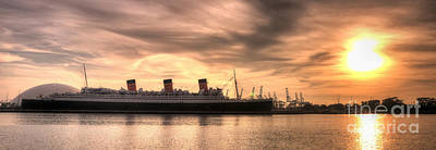Photograph - Queen Mary Sunset Panorama by Eddie Yerkish