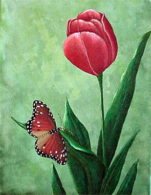 Painting - Queen Monarch And Red Tulip by Fran Brooks