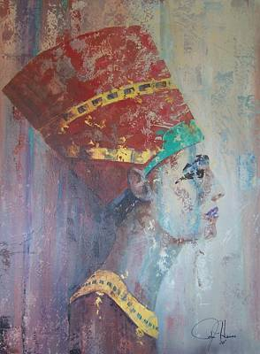 Pallet Knife Painting - Queen Nefertiti by John Henne