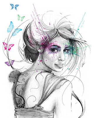 Mixed-media Drawing - Queen Of Butterflies by Olga Shvartsur