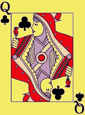 Painting - Queen Of Clubs by Florian Rodarte