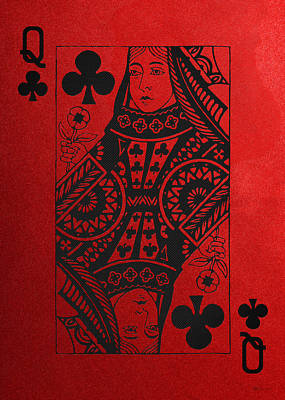 Digital Art - Queen Of Clubs In Black On Red Canvas   by Serge Averbukh