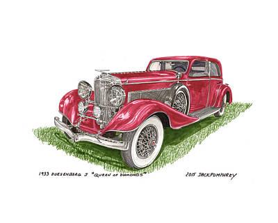 Painting - Queen Of Diamonds 1933 Duesenberg Model J by Jack Pumphrey