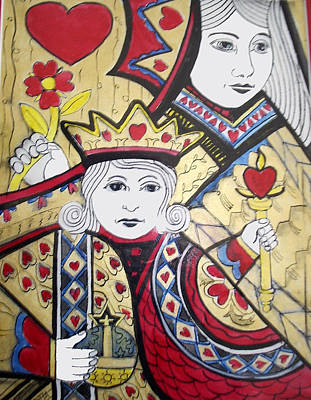 Queen Mary Mixed Media - Queen Of Hearts by Otella Brantmier